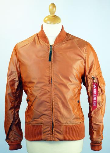 alpha industries ma1 tt retro mod revival bomber jacket orange. Black Bedroom Furniture Sets. Home Design Ideas