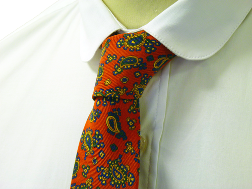 Orange Paisley ATKINSONS Retro Sixties Mod Skinny Mens Tie