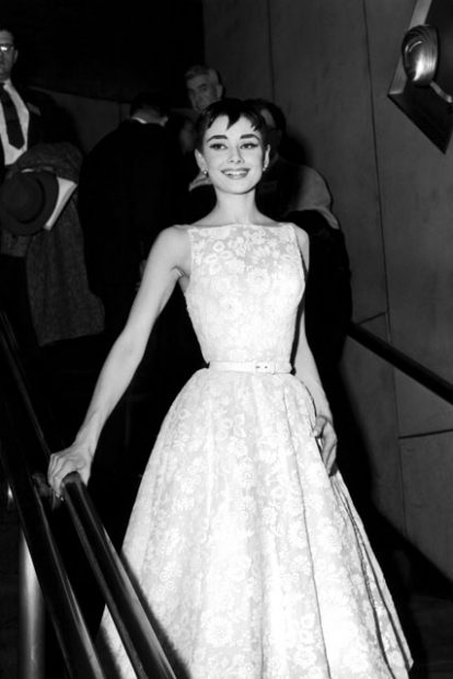 Audrey Hepburn at the Oscars in 1954 wearing a Givenchy Dress