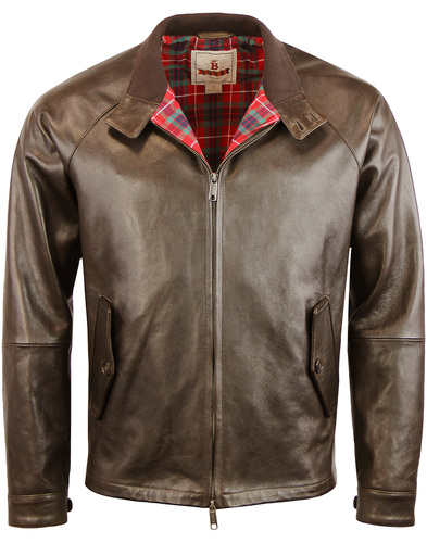 BARACUTA G4 Oiled Leather Harrington - Dark Brown