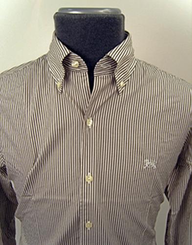 'Baracuta G9 Candy Stripe Shirt' (Brown/White)