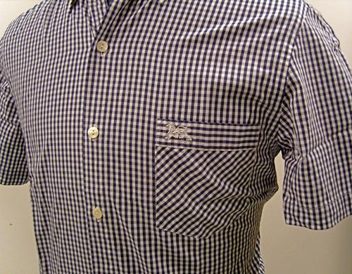 'Baracuta G9 Short Sleeve Gingham Shirt' (Navy)