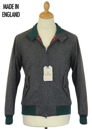 BARACUTA G9 MELTON HERRINGBONE HARRINGTON GREEN