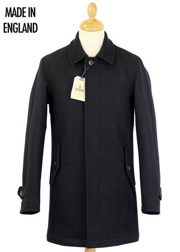 BARACUTA MELTON TRENCH COAT NAVY MADE IN ENGLAND