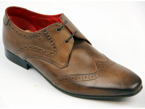 Sew BASE LONDON Retro Mod Blunted Toe Brogues (Br)