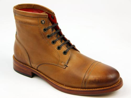 BASE LONDON WAXY RETRO BOOTS TAN BRISTOL