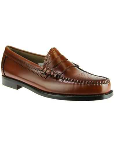1dd23a19769 BASS WEEJUNS Larson Brogue Penny Loafers in Mid Brown