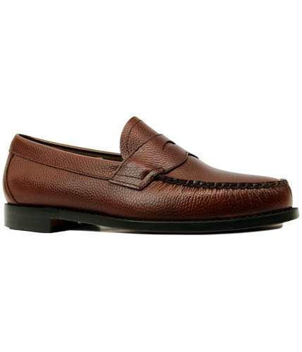 80ece4af006 BASS WEEJUNS Logan 60s Mod Grain Leather Penny Loafer Shoes Brown