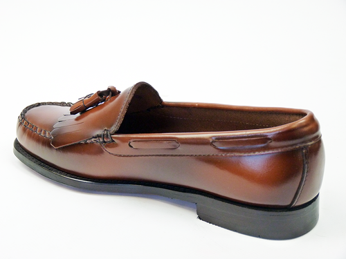 BASS WEEJUNS LAYTON FRINGE LOAFERS TAN MOD 60s