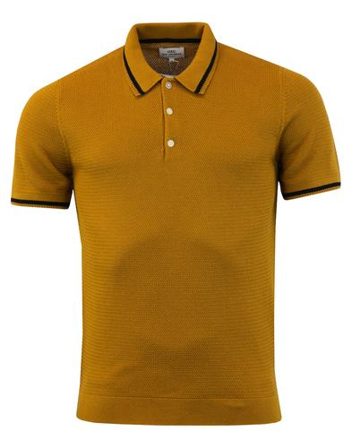 ben sherman retro 60s mod textured knit tipped polo shirt mustard. Black Bedroom Furniture Sets. Home Design Ideas