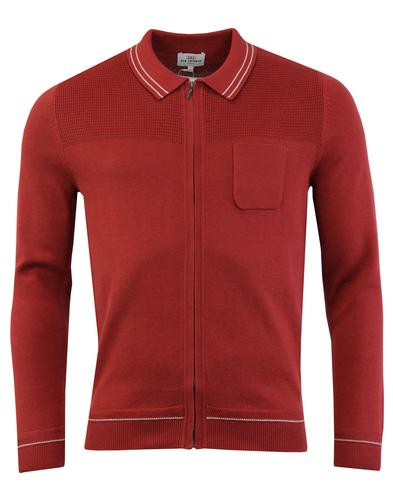 BEN SHERMAN Retro Mod Tipped Zip Milano Cardigan R