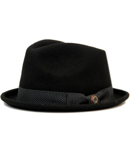 BEN SHERMAN 60s Mod Trilby Hat with Pin Dot Band