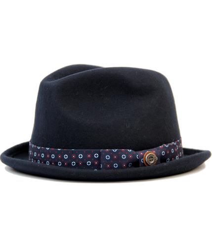 BEN SHERMAN Retro 60s Mod Trilby Hat with Geo Print Band in Navy aec47f7ce34