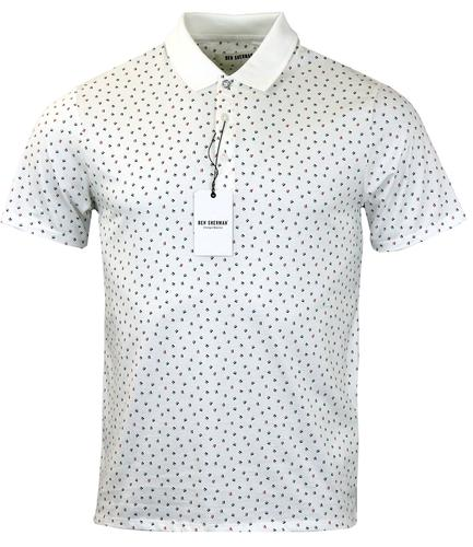 BEN SHERMAN Retro Mod Abstract Scatter Print Polo