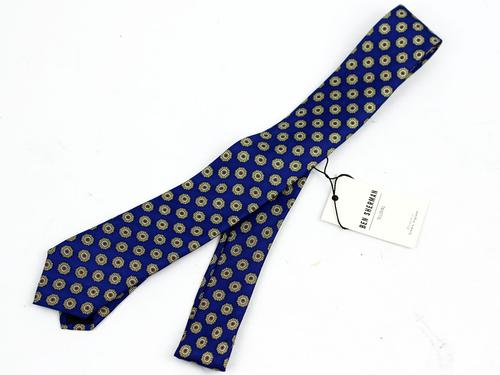 BEN SHERMAN RETRO MOD SKINNY TIE BLUE MEDALLION