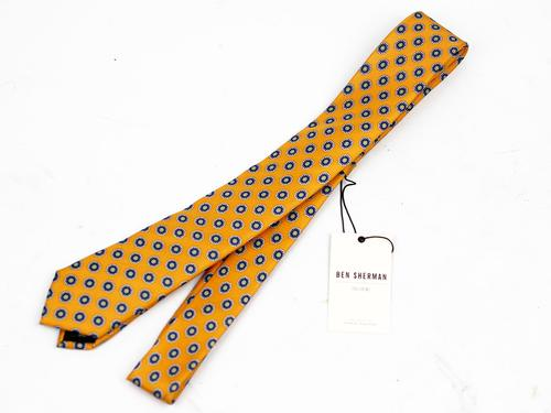BEN SHERMAN RETRO MOD SKINNY TIE YELLOW MEDALLION