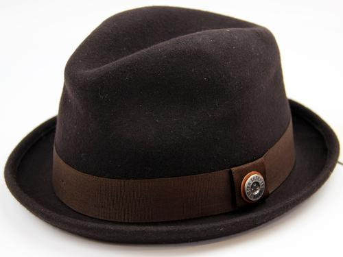 Ben Sherman Retro Mod Wool Felt Trilby Hat (Brown)