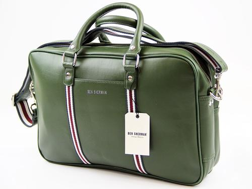 BEN SHERMAN RETRO MOD STRIPE LAPTOP BAG GREEN