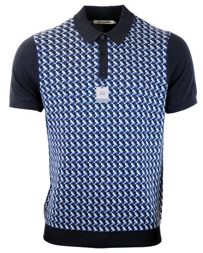 BEN SHERMAN RETRO MOD KNITTED GEO POLO NAVY