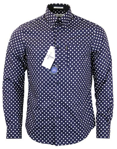 BEN SHERMAN RETRO MOD POLKA DOT SHIRT NAVY