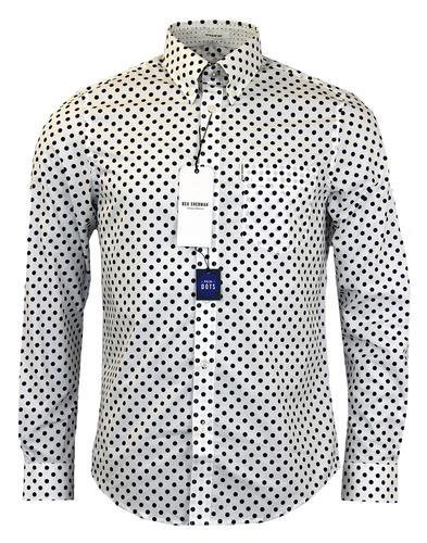 3d312e3486 BEN SHERMAN Retro 60s Mod White Polka Dot Button Down Shirt