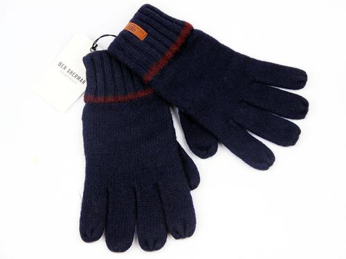 BEN SHERMAN RETRO MOD TIPPED KNITTED GLOVES NAVY