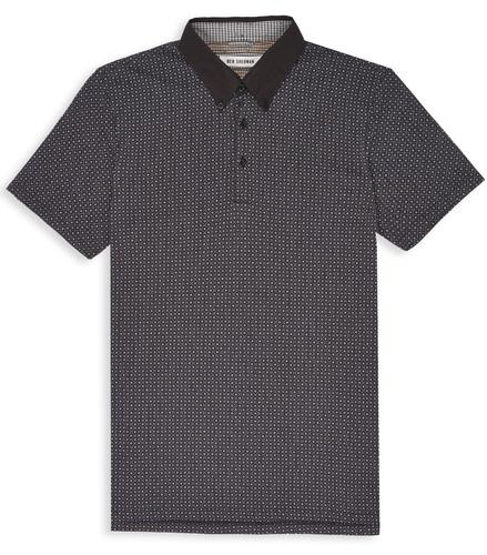 BEN SHERMAN RETRO MOD TILE PRINT POLO BLACK
