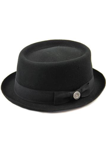 ... best sell 891ca 225c1 BEN SHERMAN Retro Mod Wool Felt Pork Pie Hat  BLACK  wholesale sales ... 9570673cdb6