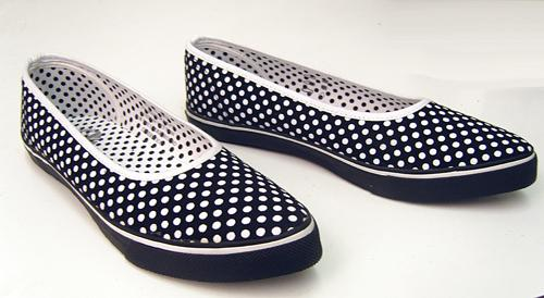 'Portobello' - Womens Retro Polkadot Slip-On Shoes