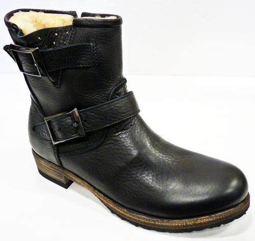 35f7d268596ec BLACKSTONE Isabella Biker Boots | Retro 70s Indie EW62 Black Boot