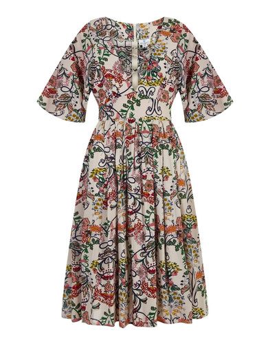 Cathy BRIGHT & BEAUTIFUL Retro 70s Lace Up Dress