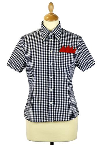 BRUTUS TRIMFIT WOMENS RETRO MOD GINGHAM SHIRT NAVY