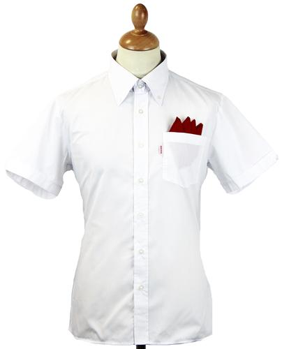 BRUTUS TRIMFIT Mod Solid White Red Label S/S Shirt