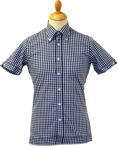 BRUTUS TRIMFIT SHIRTS NAVY GINGHAM SHIRT RETRO MOD