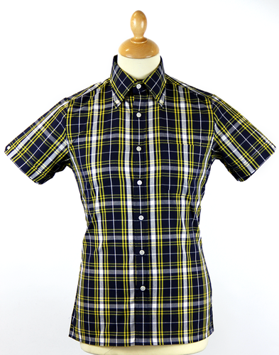 BRUTUS TRIMFIT CLASSIC NAVY YELLOW SHIRT 70s MOD