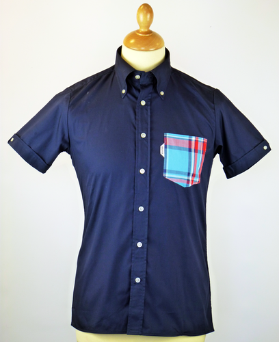 BRUTUS TRIMFIT SHIRT POCKET SHIRT NAVY RETRO 70S