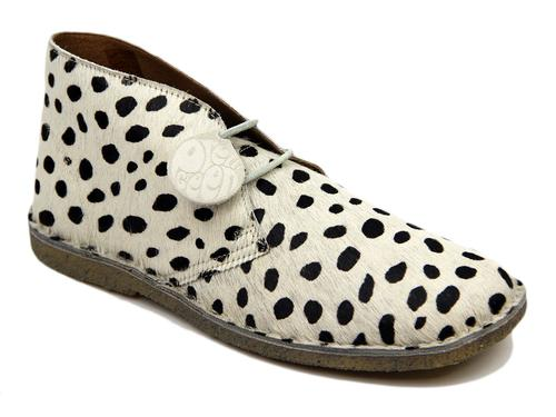 PRETTY GREEN CHEETA RETRO SPOT PRINT DESERT BOOTS