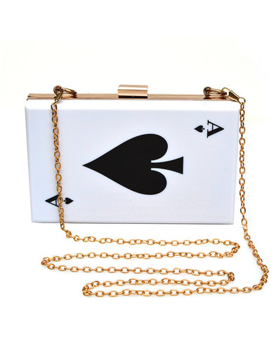 COLLECTIF Ace of Spades 70s Rock N Roll Clutch Bag