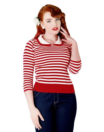 Charlie COLLECTIF Retro 60s Striped Collar Jumper