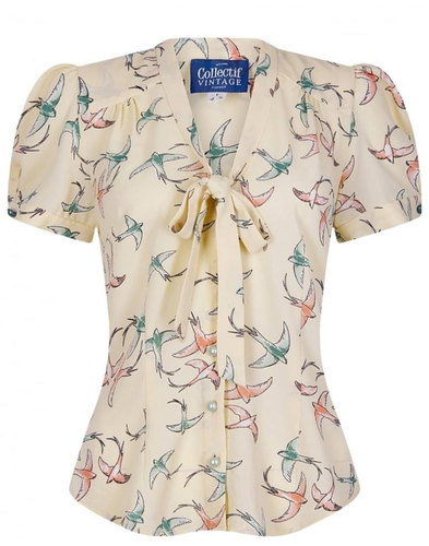 Tura COLLECTIF VINTAGE Pussycat Bow Swallow Blouse