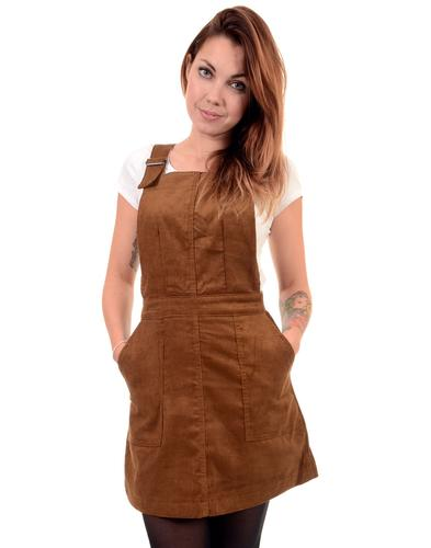 Retro Sixties Mod Cord Buckle Strap Pinafore Dress