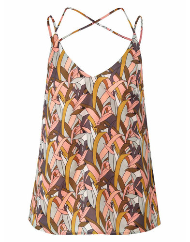 Lotus DARLING Retro 1970s Leaf Print Cami Top