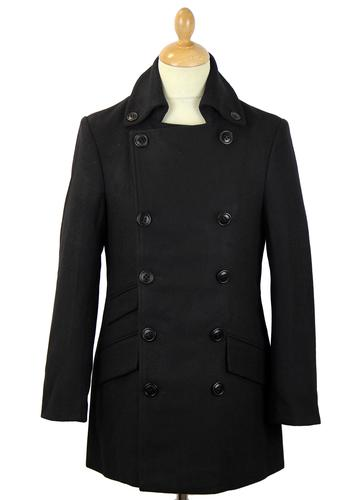 DAVID WATTS PALMER BLACK RETRO MOD OVERCOAT