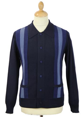 DAVID WATTS RETRO MOD UNION POLO CARDIGAN NAVY