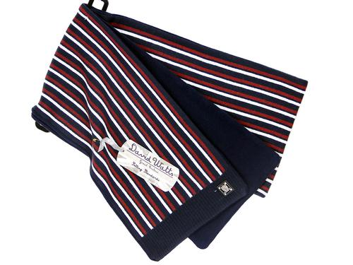 DAVID WATTS RETRO MOD STRIPED SCARF NAVY