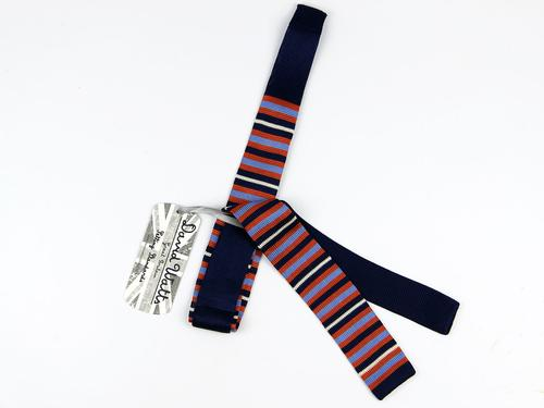 DAVID WATTS KNITTED SKINNY MOD TIE RAGLAND STRIPE