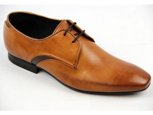 HUDSON DAWLISH RETRO MOD SMART LEATHER SHOES TAN