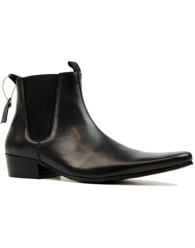 'Beatle' Retro Mod Chelsea Cuban Leather Boots (B)