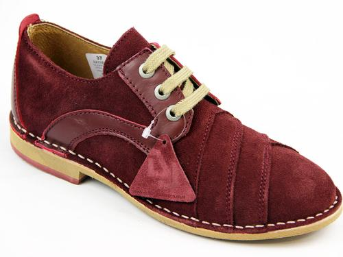 DELICIOUS JUNCTION RETRO MOD WEAVE SHOES RED SUEDE