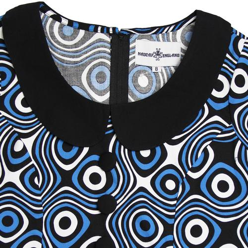Madcap England Dollierocker Op Art 60s Mod Peter Pan Collar Dress in Blue/Black